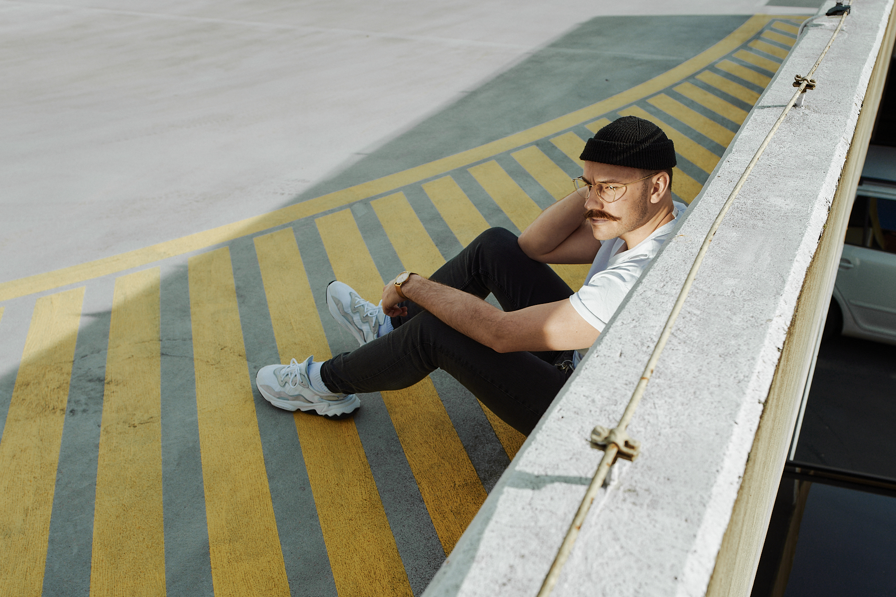 young man casual chillout on the roof